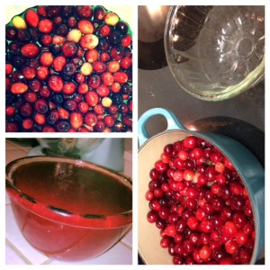 Fresh Cranberries, simmering until bursting, and finished in an old fashioned mold bought on Etsy!
